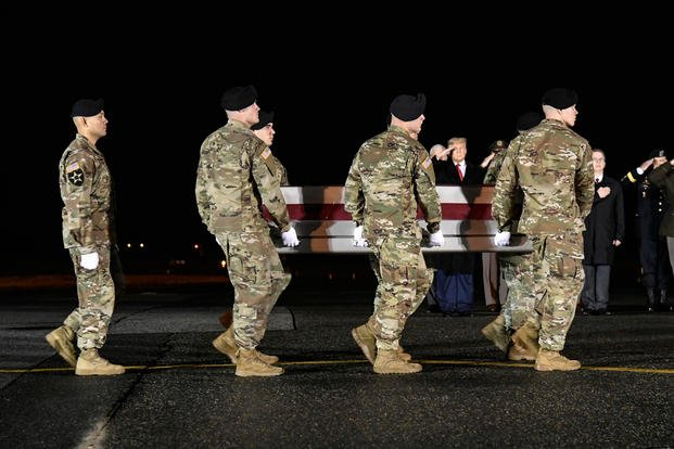 Army carry team transfers the remains of Sgt. 1st Class Javier J. Gutierrez